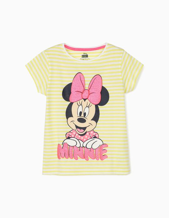 T-shirt rayures fille 'Minnie', jaune citron/blanc