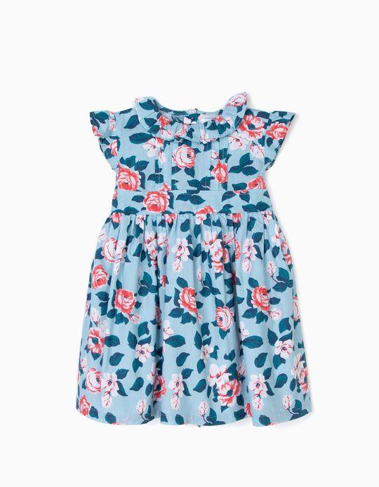 Vestido para Bebé Niña Flores, Azul