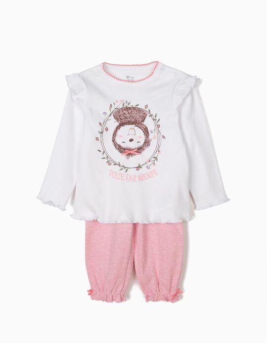 Pijama para Bebé Menina 'Dolce Far Niente Sloth', Branco e Rosa