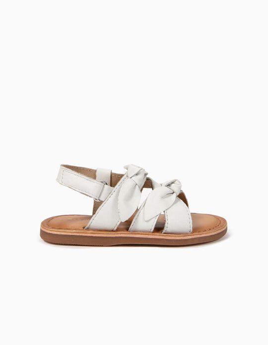Sandálias de Pele para Bebé Menina com Laços, Branco