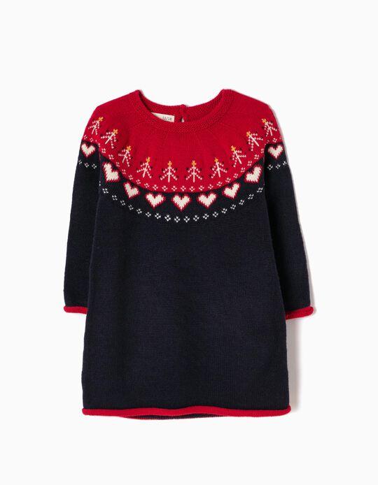 Vestido Malha Corações Vermelho e Azul