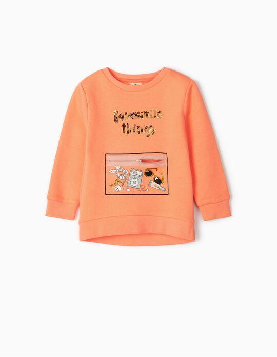 Sweatshirt para Menina 'Favourite Things', Laranja Néon