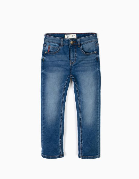 Calças Denim Médias Slim Fit