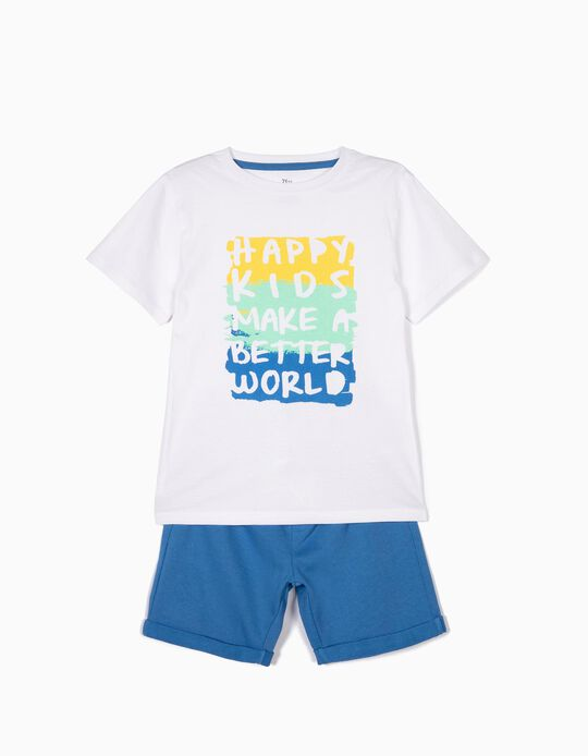 Camiseta y Short para Niño 'Happy Kids', Blanco y Azul
