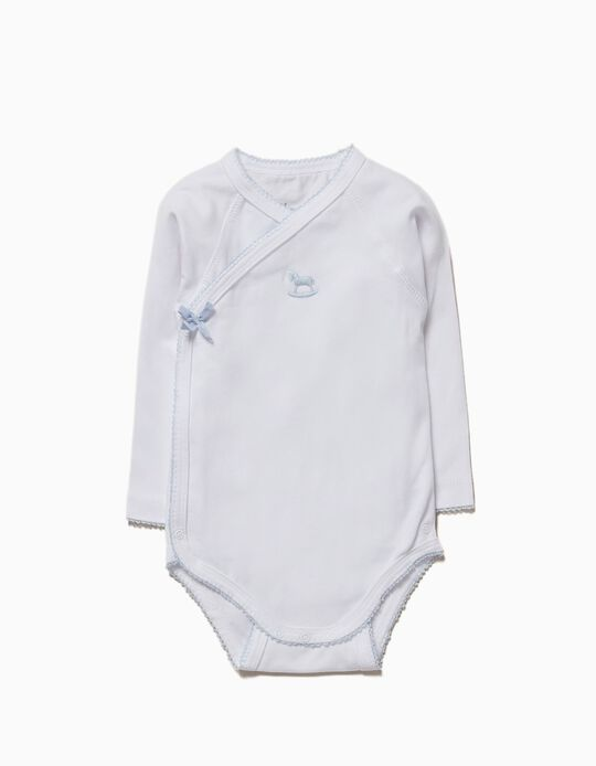 Long-sleeve Bodysuit for Newborn 'Pony', White and Blue