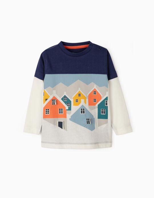 Camiseta de Manga Larga para Bebé Niño 'Windows', Azul y Blanca