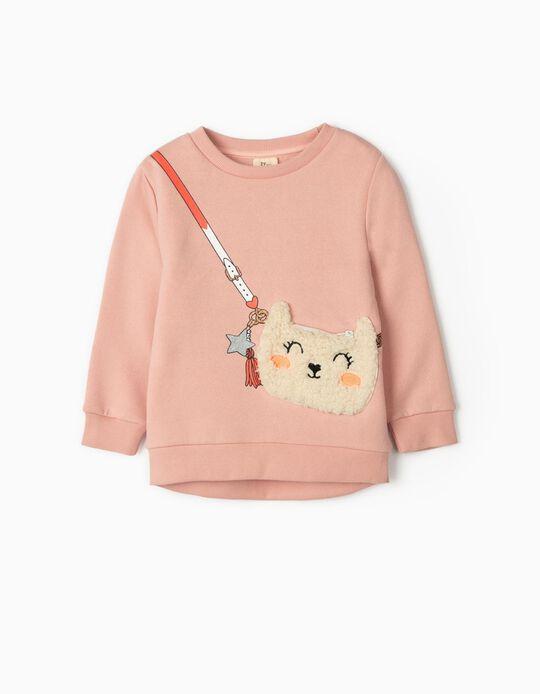 Sweatshirt com Aplicação para Menina, Rosa