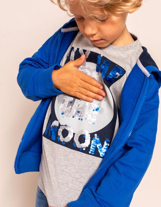 Camiseta de Manga Larga para Niño 'Moon', Gris