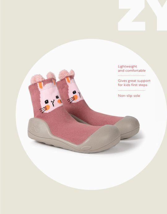 Meias-Pantufa Antiderrapantes para Bebé Menina 'Bunny', Rosa