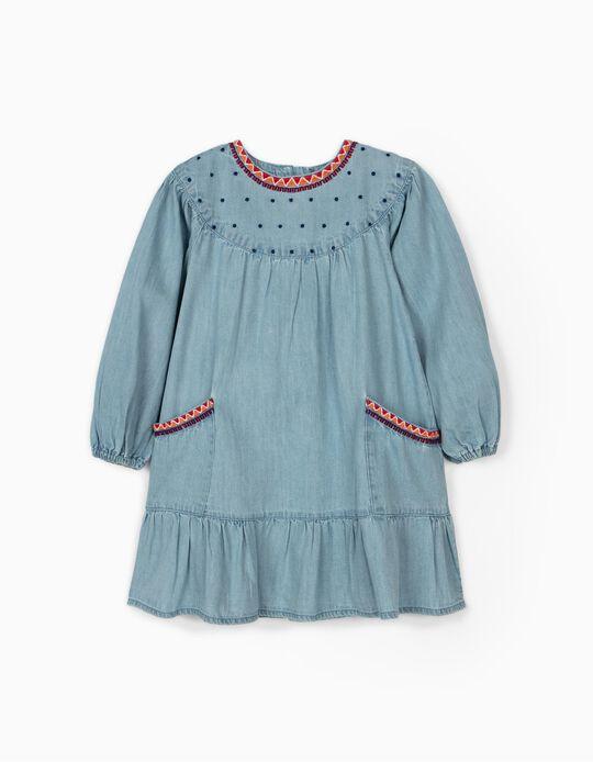 Vestido de Denim con Bordados para Niña, Azul Claro