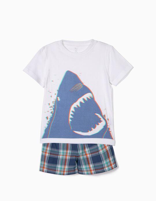 Pijama para Menino 'Shark', Branco e Xadrez