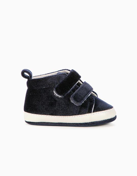 Zapatillas de Terciopelo para Recién Nacida, Azul Oscuras