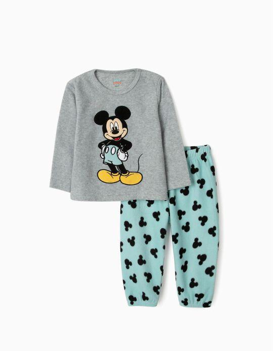 Polar Fleece Pyjamas for Baby Boys 'Mickey Mouse', Grey/Blue