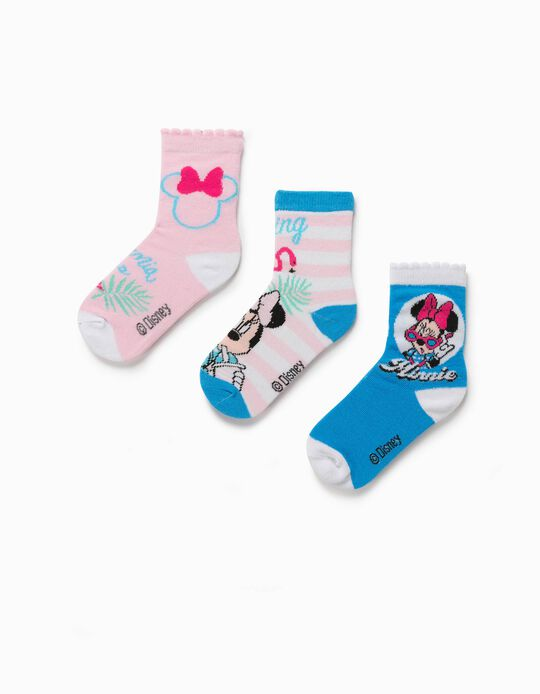 3 Pairs of Socks for Girls, 'Minnie Mouse', White/Blue/Pink