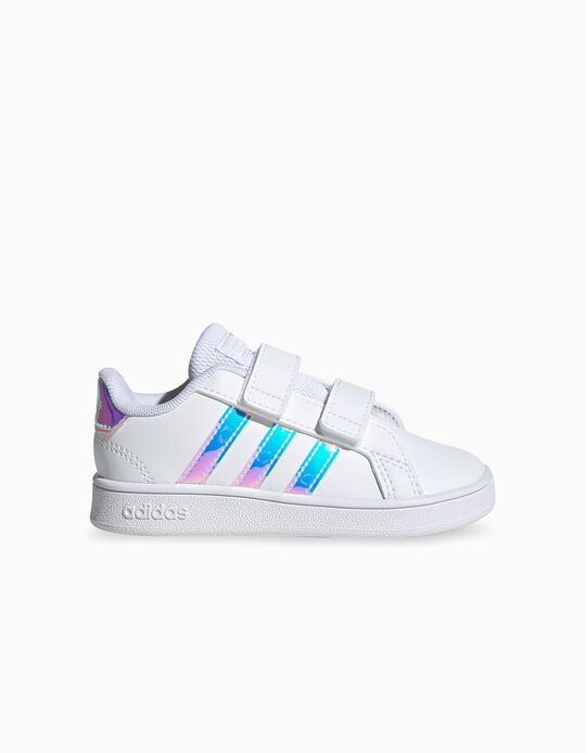 Trainers for Babies 'Adidas Grand Court', White/Iridescent