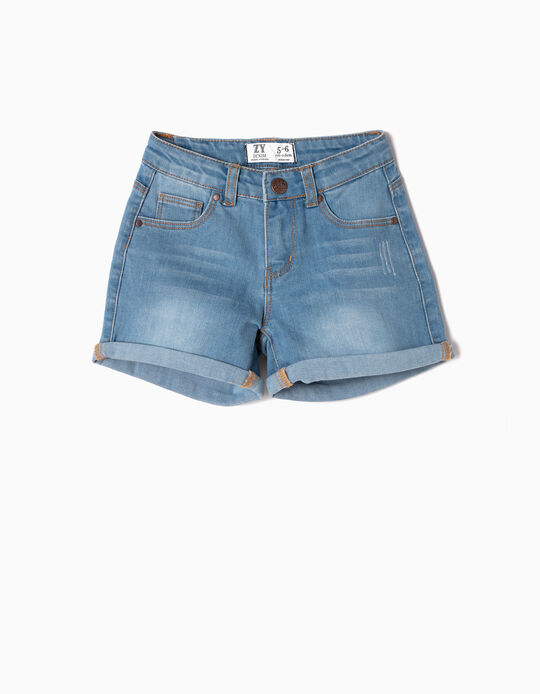 Denim Shorts for Girls, Light Blue