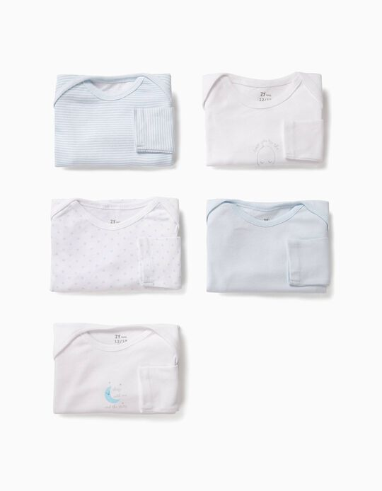 5-Pack Bodysuits for Baby Boys 'Moon', White and Blue