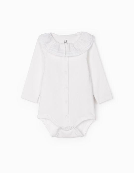 Bodysuit with Ruffled Collar for Newborn Baby Girls, White