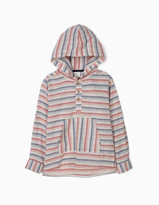 Camisa con Capucha para Niño de Lino y Algodón, a Rayas
