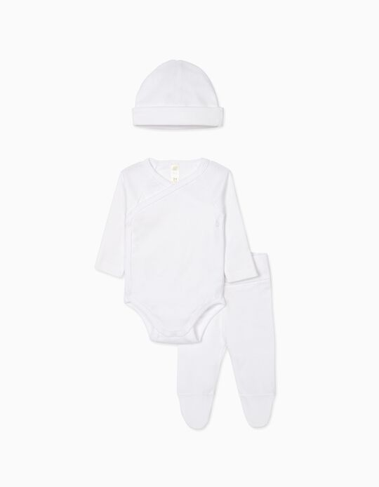 3-Pieces Antibacterial Set for Newborns, White