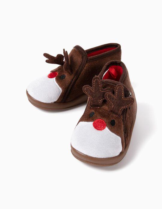 Chaussons bébé 'Christmas Reindeer', marron