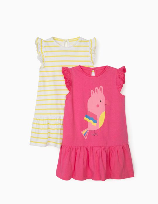 2 Jersey Knit Dresses for Baby Girls, 'Bird', Pink/Yellow/White