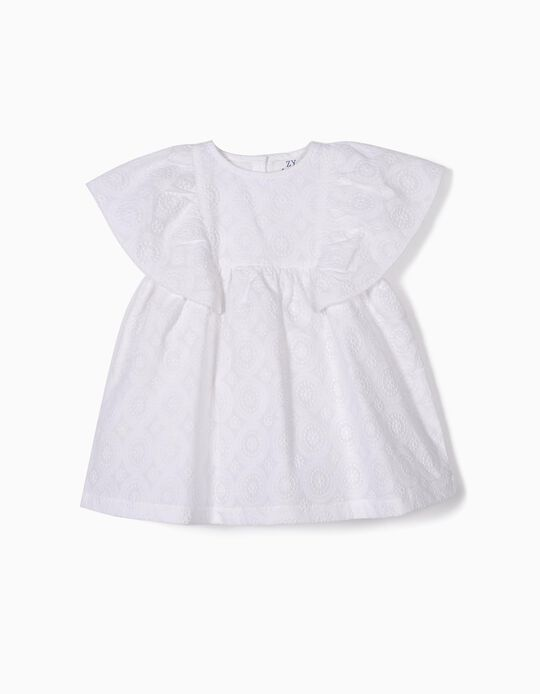Dress and Bloomers with Embroideries for Baby Girls, White