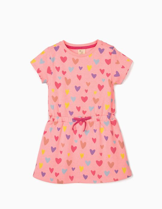 Robe manches courtes fille 'Hearts', rose