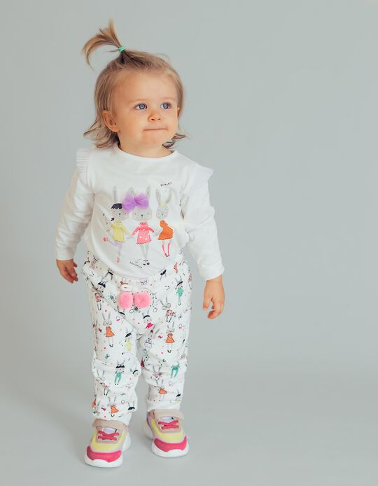 Pantalón de Chándal para Bebé Niña 'Cute Bunny', Blanco