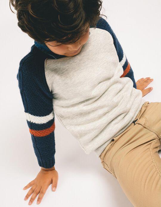 Sweatshirt Combinada para Menino, Cinza e Azul