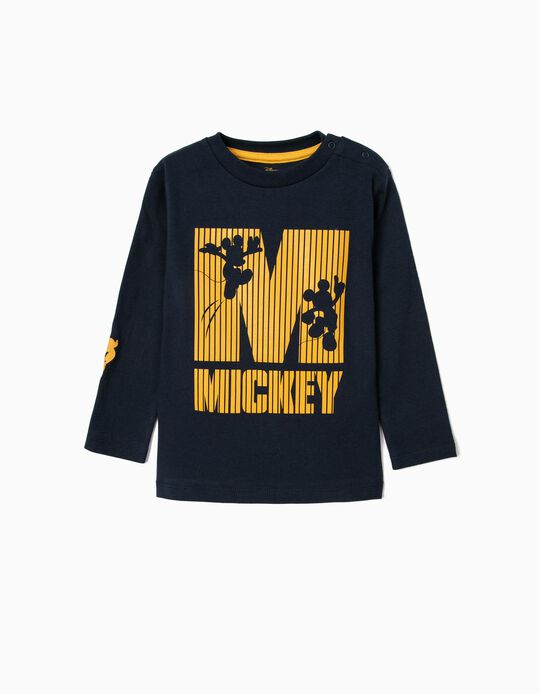 Long Sleeve Top for Baby Boys, 'Mickey', Dark Blue