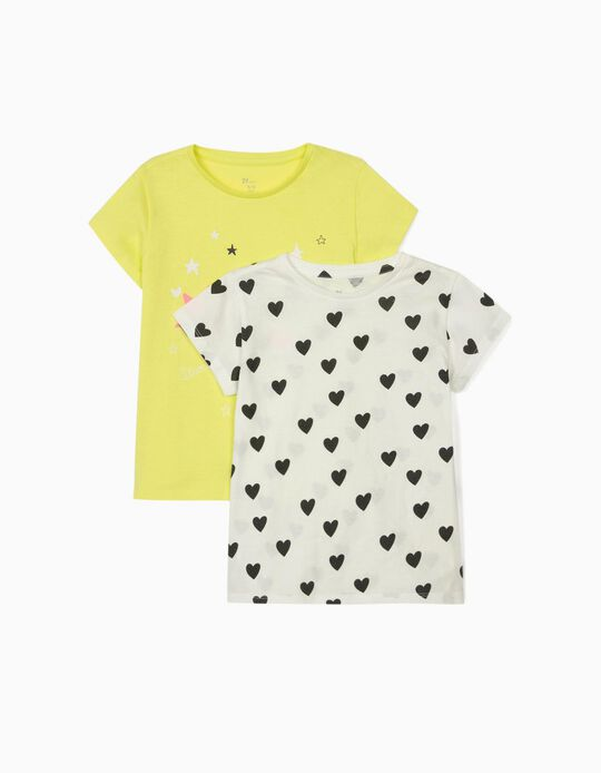 2 T-shirts for Girls 'Planets & Hearts', Lime Yellow/White