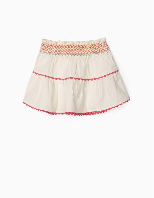 Linen Skirt for Baby Girls, White
