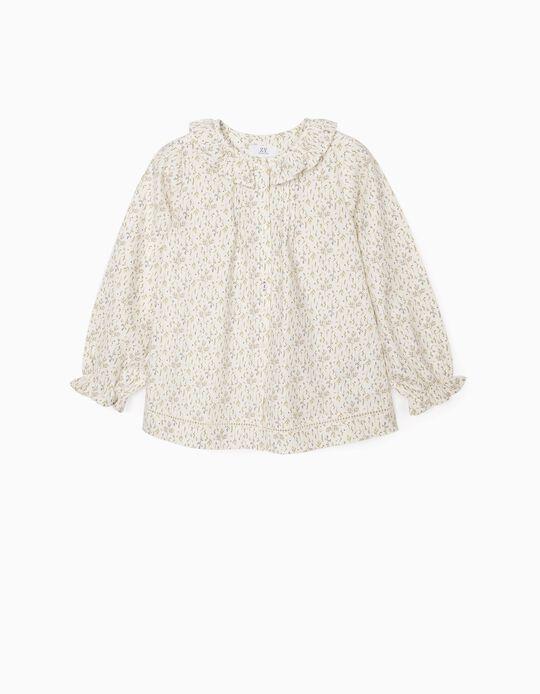 Blusa de Flores para Niña, Blanca