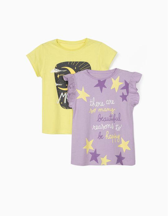 2 T-shirts for Girls, 'Moon Child', Lilac/Yellow