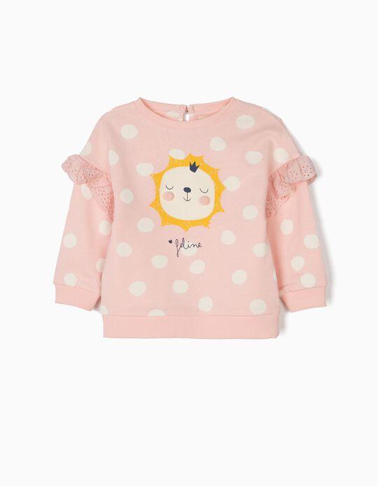 Sweatshirt Estampada para Bebé Menina 'Feline', Rosa