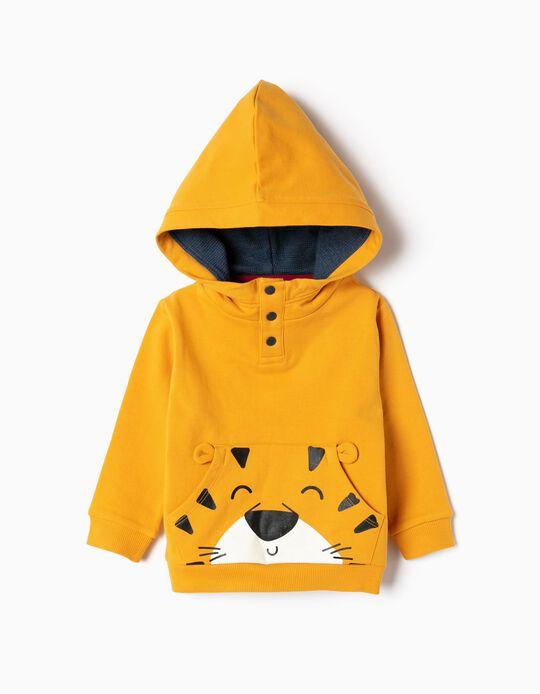 Sweatshirt para Bebé Menino 'Tiger' Algodão Orgânico, Amarelo
