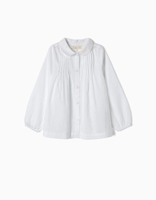 Blusa para Niña con Pliegues, Blanca