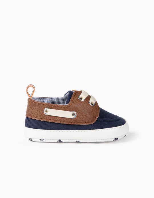 Chaussures bimatières nouveau-né, bleu foncé/marron