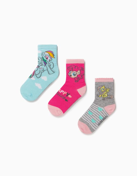 3 paires de chaussettes fille 'My Little Pony', gris/bleu/rose