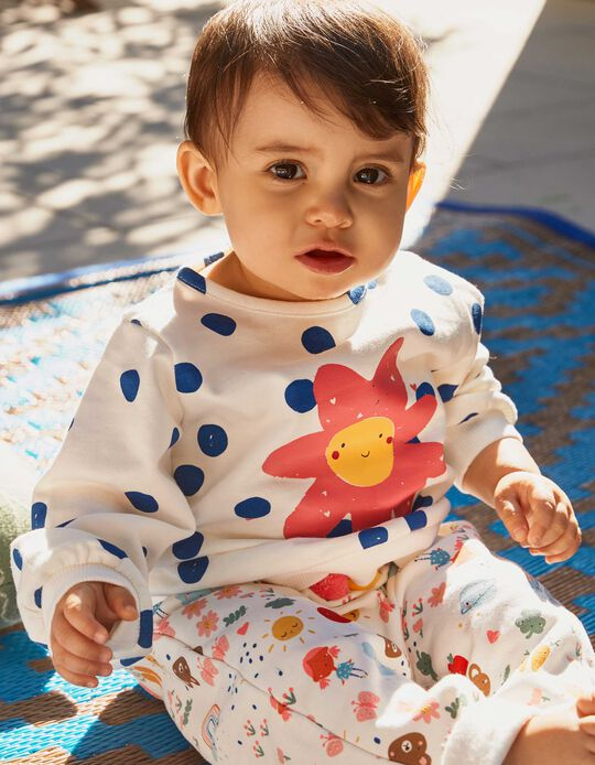 Sweatshirt para Bebé Menina 'Flower Power', Branco