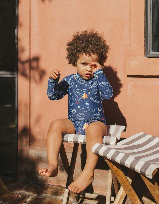 Combinaison de bain UPF 80 bébé garçon, bleu foncé