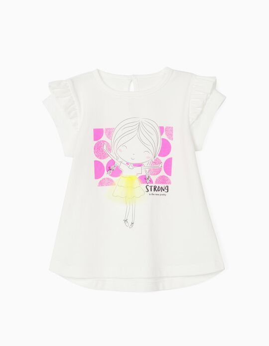 T-shirt para Bebé Menina 'Strong', Branco