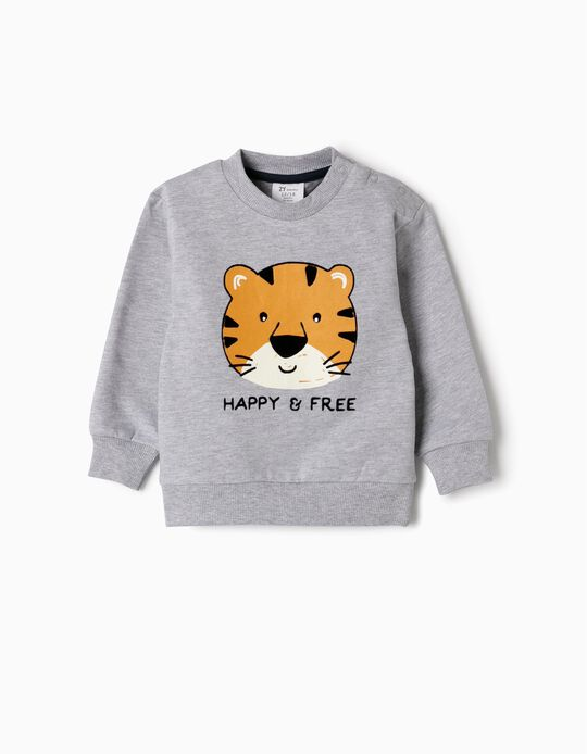 Sweatshirt para Bebé Menino 'Happy & Free', Cinza