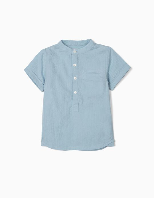 Textured Shirt for Baby Boys, Blue