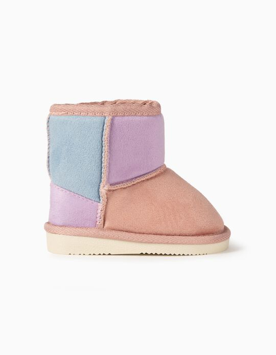 Suedette Boots with Fur for Baby Girls, Pink/Lilac/Blue