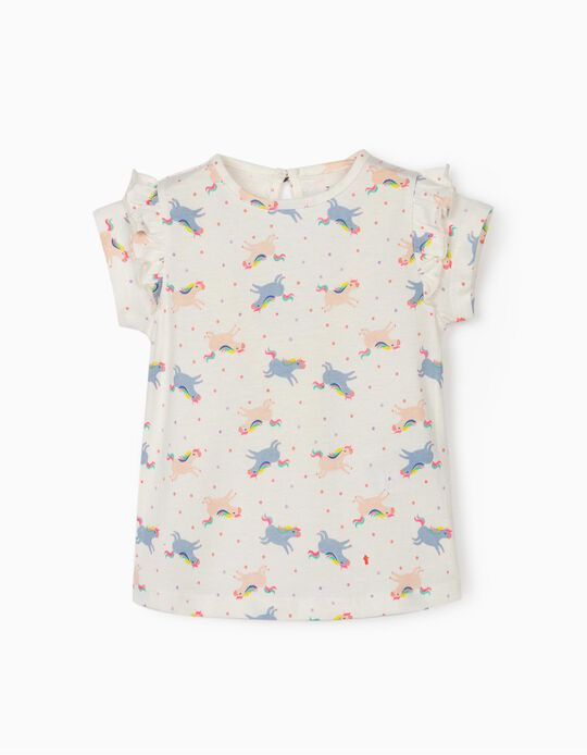 T-Shirt for Baby Girls 'Solar System & Unicorns', White