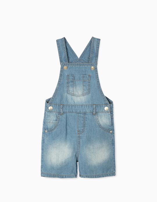 Short Denim Dungarees for Baby Boys, Light Blue