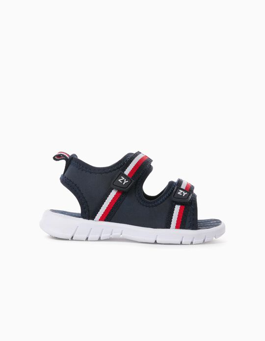 Striped Sandals for Baby Boys, Dark Blue
