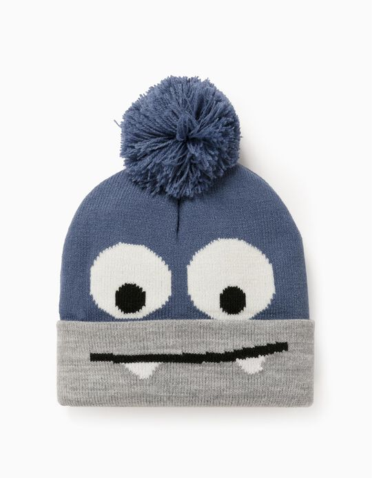 Knitted Beanie for Baby Boys 'Monster', Blue/Grey